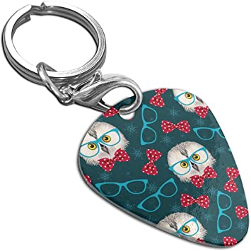 Glasses Owls Custom Guitar Pick Pendant Necklace Keychain