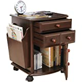 Collections Etc Multi Storage Mahogany Finish Companion Side Table with Rolling Wheels