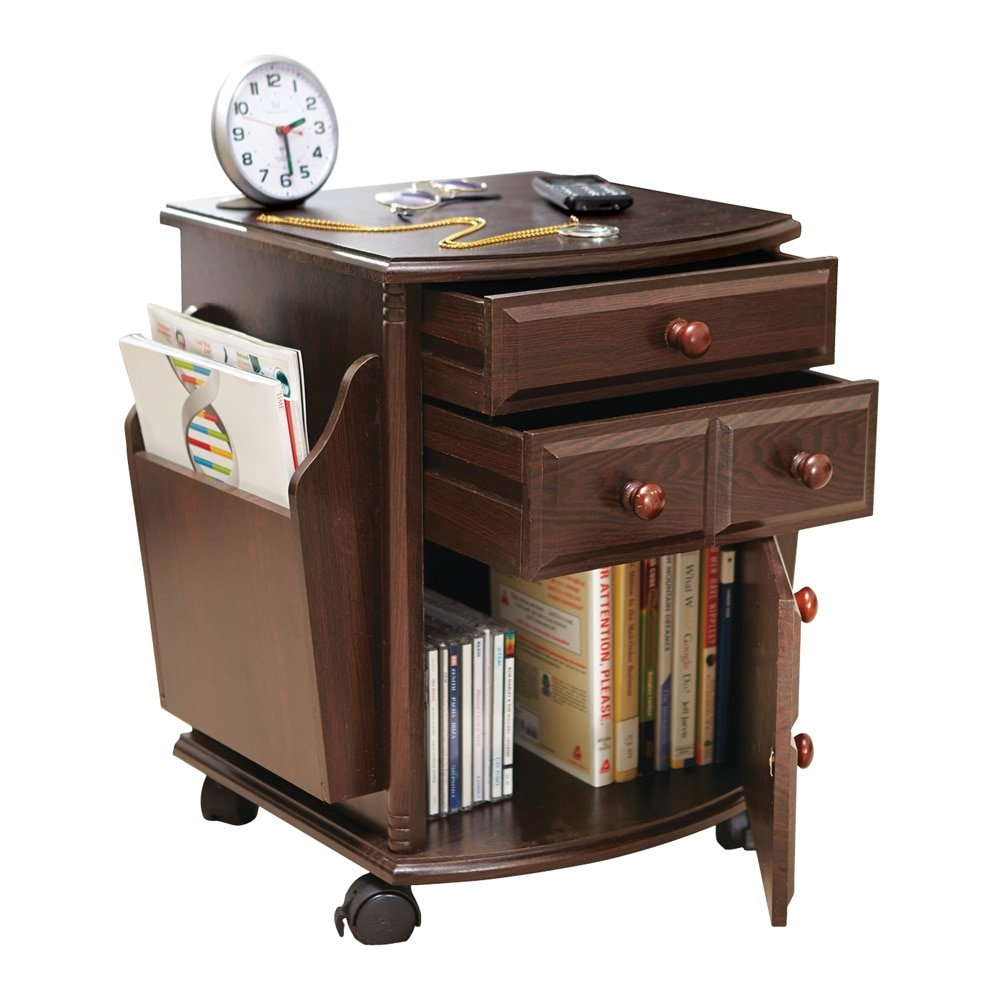 Amazon com collections etc multi storage mahogany finish companion side table with rolling wheels kitchen dining