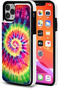 Tie Dye Rainbow Peace iPhone 11 Wallet Case with Card Holder,Pu Leather Kickstand Slots,Double Magnetic Clasp and Shockproof Cover for iPhone 11 Series