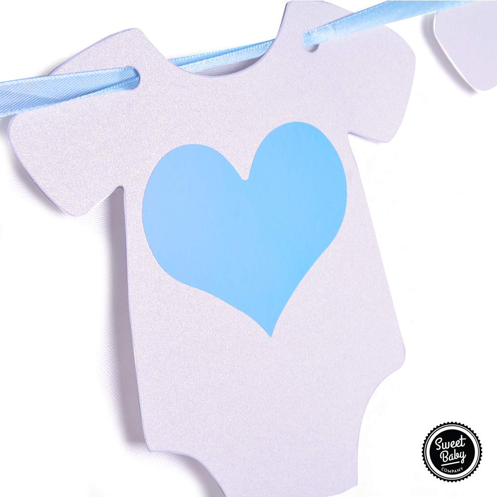 Sweet Baby Co. Baby Shower Decorations For Boy With It's A Boy Banner, Paper Lanterns, Honeycomb Balls, Paper Tissue Pom Poms, Confetti Balloons, Silver Balloon Ribbon (Baby Blue, True Blue, Grey and White)   Baby Shower Decorations Set by Sweet Baby Company (Image #5)