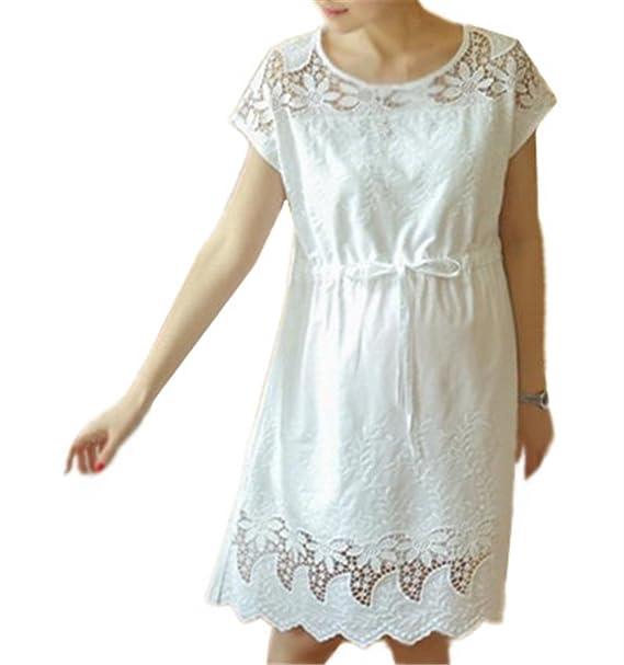 BESTHOO Premamá Vestido Mujer Embarazada Encaje Larga Vestido de Maternidad Dress Color Solido Costura Encaje Vestido Guapas Elegante Delicadas: Amazon.es: ...
