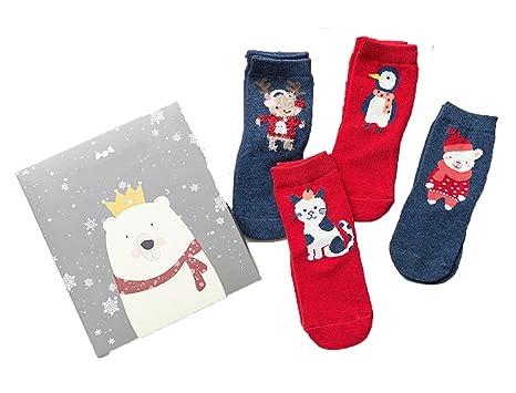 62fde8e6136 Christmas Kids Socks Cartoon Cotton Novelty Fun Crew Socks 4-Pair Pack Gift  for Girls