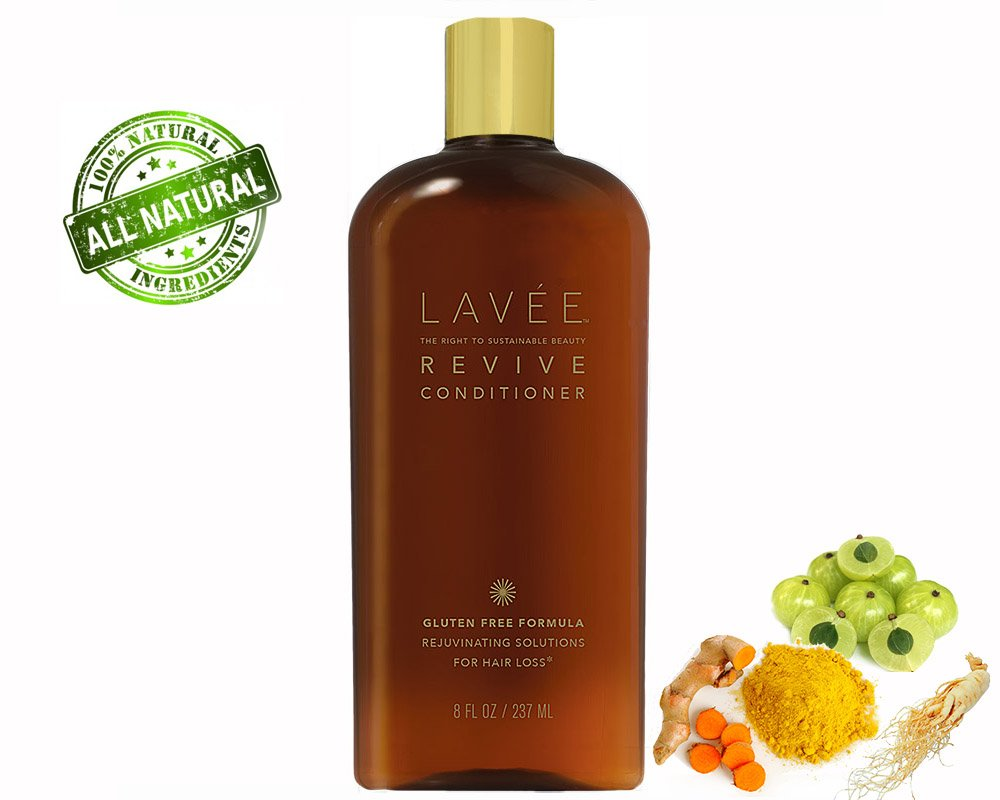 Lavée Organic Revive Thickening Conditioner (32 oz) -Anti Hair Loss- Features organic complex of Ginseng, Tumeric, Amla Berry - Promote Hair Growth - Gluten Free, Sulfate Free, Paraben Free and Vegan