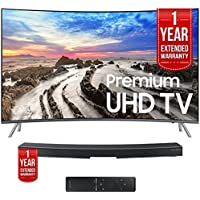 Samsung UN55MU8500FXZA 55 Curved UHD Smart LED TV 2017 with Samsung HW-MS6500/ZA Sound+ Curved Premium Soundbar (both with 1 Year Extended Warranties)