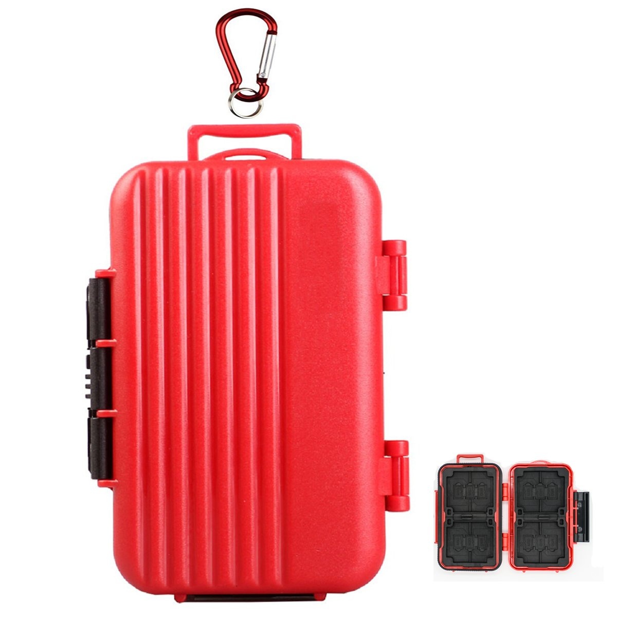 LXH Waterproof & Shockproof 24 Slots Luggage Memory Card Storage Case Fits 4 (CF) Compact Flash & 8 Secure Digital (SD) & 12 TF / Micro SD Card Storage Holder (SDHC / SDXC / TF) With Carabiner (Red) LYNCA
