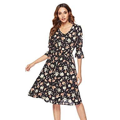 3dd72bd22b13 Women V Neck Print Chiffon Midi Dress 2/3 Sleeve Casual Long Flowy Split  Maxi Dresses at Amazon Women's Clothing store: