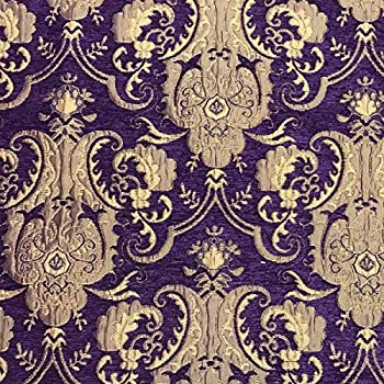 Image of Fabric Chenille Upholstery Drapery Bedding Purple & Gold I Damask 50 Yards Full ROLL/Bolt (American Drapery Shop) Home and Kitchen