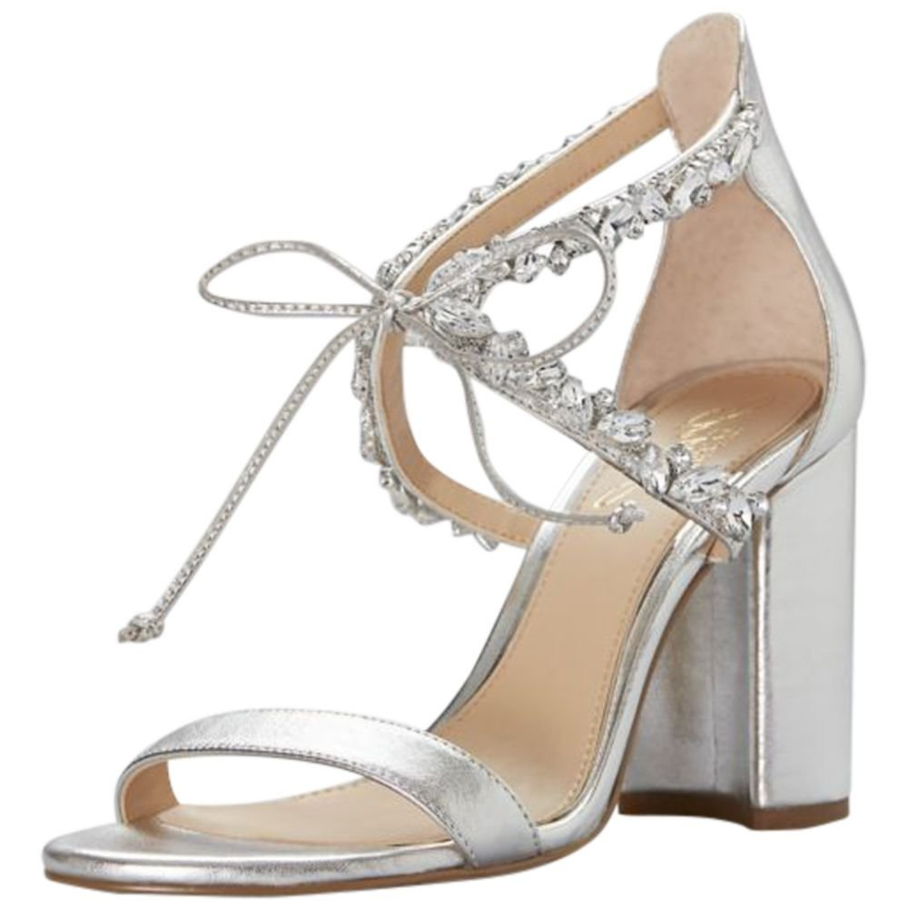 David's Bridal Crystal-Embellished Ankle-Tie Block Heel Sandals Style JWTHAMAR, Silver, 7.5