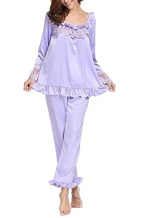 fd7be49d53a251 EKOUAER Damen Zweiteiliger Schlafanzug Langarm Pyjama Set Nachtwäsche mit  Flare Organza Ärmel S-XL