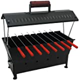 Fabrilla Hut Shaped Compact Charcoal Barbeque Grill Set (Black)