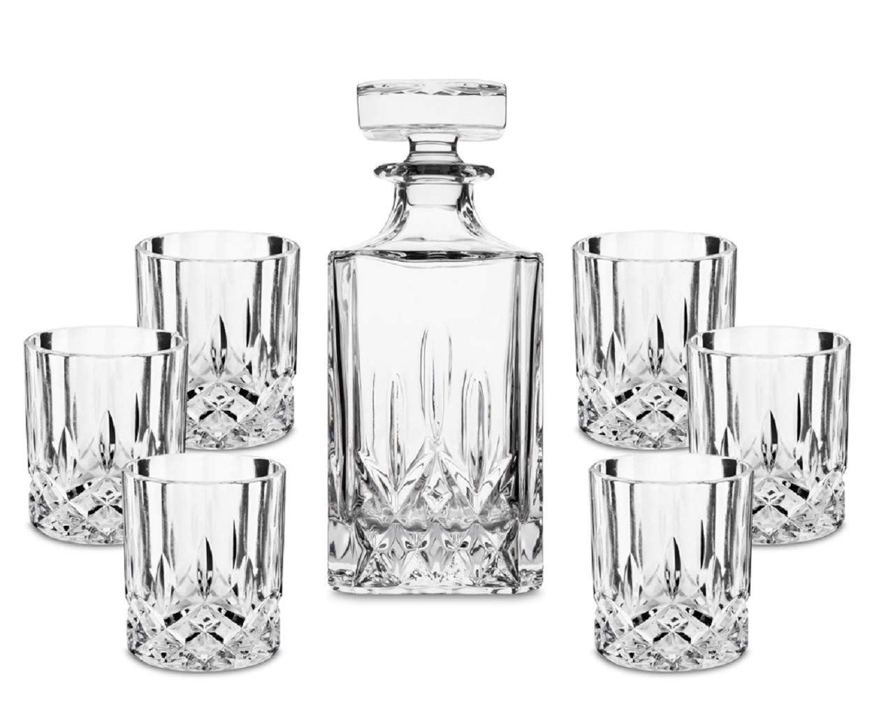 7- Piece European Style Lead Free Crystal Whiskey Decanter Set, Premium Liquor Decanter Comes with 6 Matching Scotch Glasses Best for Bourbon, Whisky and Alcohol