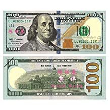 $100X100 Pcs Total $10000 Dollar US Currency Props Money Bills Advertising & Novelty Real Looking New Style Copy Double-Sided Printing - for Movie, TV, Videos,