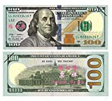 Total $10000 Dollar $100X100 Pcs U.S Currency Props Play Money Bills Real Looking New Style Copy Double-Sided Printing - for Movie, TV, Videos, Advertising & Novelty