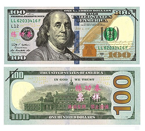 $100X100 Pcs Total $10000 Dollar US Currency Props Money Bills Advertising & Novelty Real Looking New Style Copy Double-Sided Printing - for Movie, TV, Videos, China