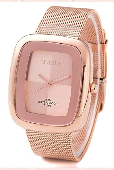 QBD- Reloj de lujo 3ATM de oro rosa para mujer con correa de malla