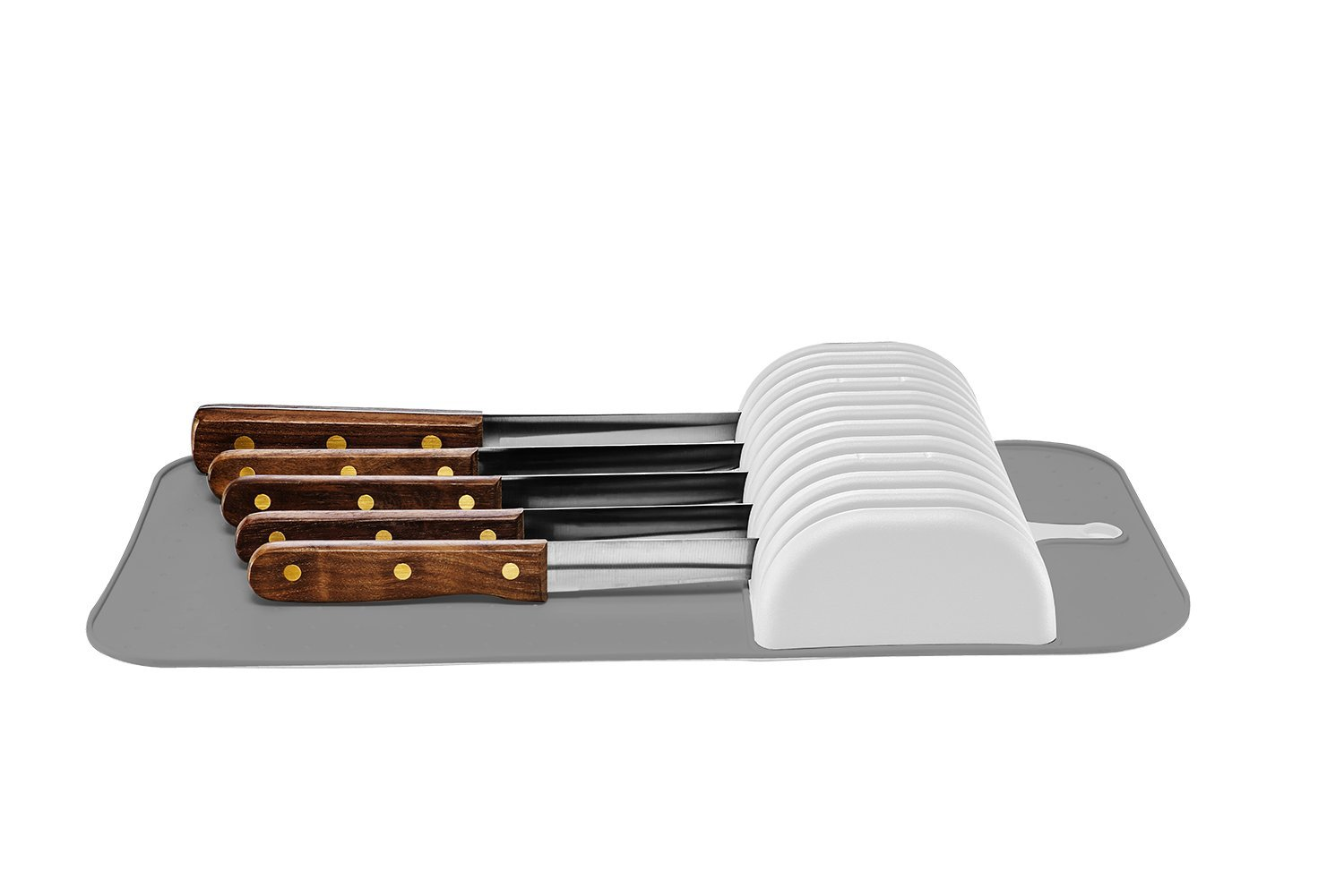 Madesmart - Safe in-Drawer Knife Mat with Soft Grip Slot in Grey Color, Holds up to 11 Knives by Made Smart (Image #2)
