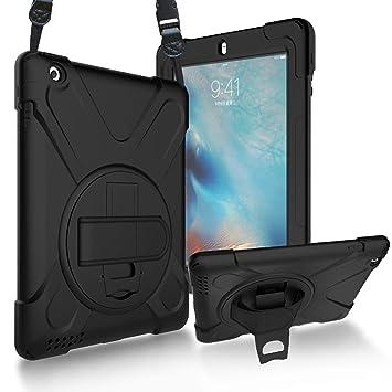 ProCase Bumper con Correa Hombro iPad 2 3 4, Carcasa Rugosa con Soporte Rotativo Asa de Mano, Funda Robusta Antichoque para iPad 2 / iPad 3.ª/iPad 4.ª ...