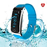 Fitness Tracker - LEKANG Activity Tracker - Heart Rate Monitor - Water Proof Ward Step Tracker Sleep Monitor Calorie Counter Notifications Alerts for Android iOS Smartphone (Blue)