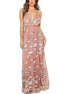 9f780d7c23 FFLMYUHUL I U Women Spaghetti V Neck Backless Embroidery Party Maxi Dress