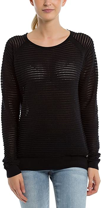 TALLA S. Bench Knitted Mesh Crew suéter para Mujer