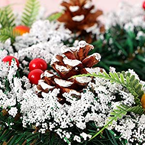 DENTRUN Christmas Wreath Whitehall Decorated,Handmade Festival Simulation Flowers Decoration Wedding Celebration,Winter Red Berry Holiday Versatile Design, Christmas Artificial Door Wreaths 5