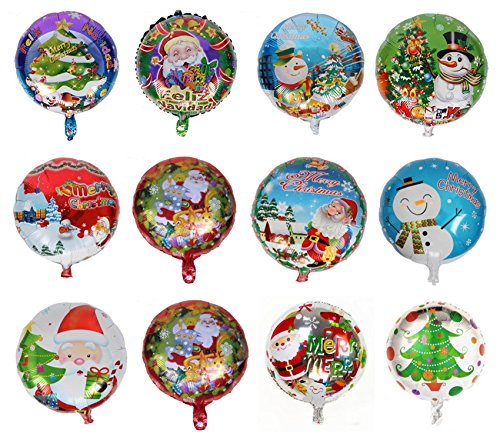 King&Pig 12pcs/set different Christams Foil Mylar Helium Aluminum film balloons for Party Brithday Festival Christmas decorations