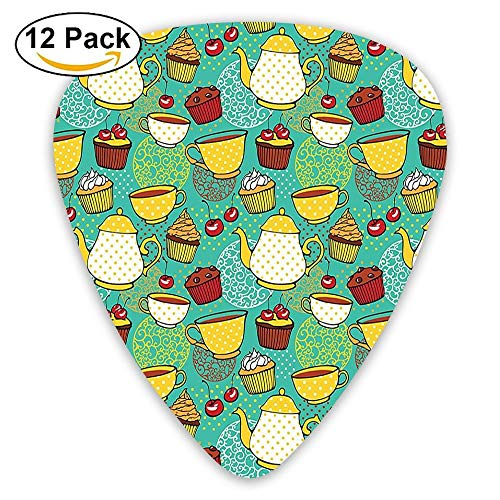 Funky Tea Cup Cake Muffin Cherry Sweet Bakery British Lifestyle Graphic Guitar Picks 12/Pack ()