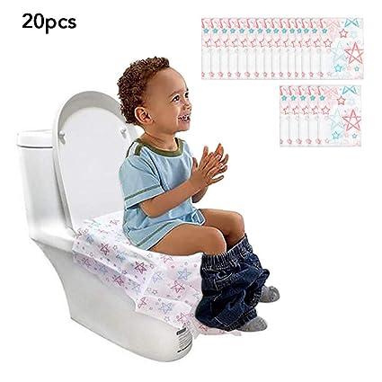 Impermeabile WC Coprisedili 20 Pezzi Copriwater Cover Monouso Set da Viaggio 60 cm x 65 cm Grande Addensare Tessuto Non-Tessuto Cuscino WC Toilet Seat Cover per Bambini Adulti Famiglia