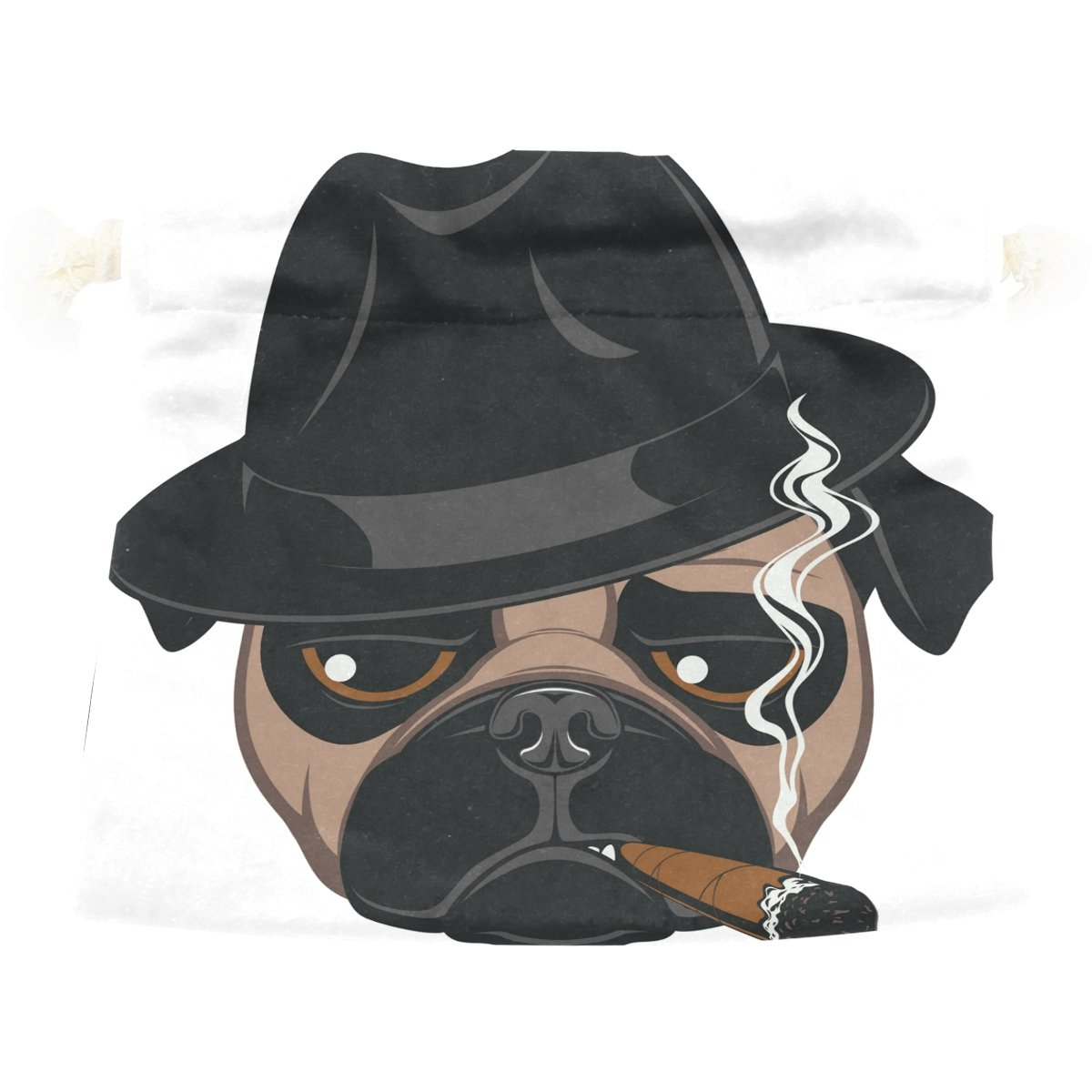 Dragon Sword Funny Pug With Cigar Gift Bags Jewelry Drawstring Pouches for Wedding Party, 6x8 Inch
