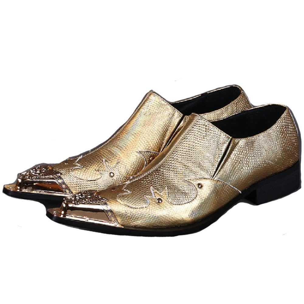Cover Plus Size 5-12 New Gold Genuine Leather Dress Loafers Mens Shoes