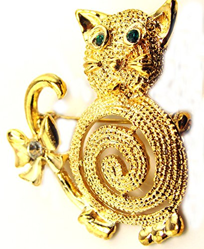 Gold Electro Plated Kitty Cat Fashion Brooch Pin