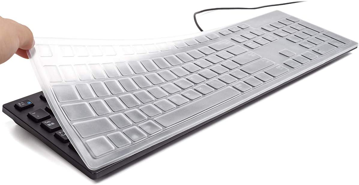 Silicone Keyboard Cover Skin for Dell KB216 /Dell KM636 Wireless Keyboard, Dell Optiplex 5250/3050/3240/5460/7450/7050, Dell Inspiron AIO 3475/3670/3477 All-in one Desktop(Clear)