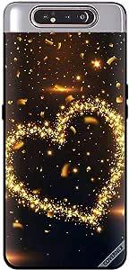 حافظة سامسونج جالاكسي A80 بتصميم قلب من القطع الذهبية