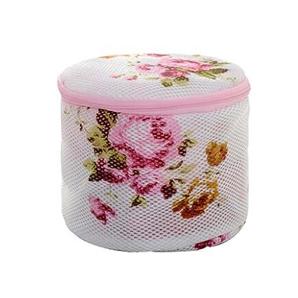 Juego de 3 en forma de cilindro flor pintura ropa interior bolsas para ropa sucia para