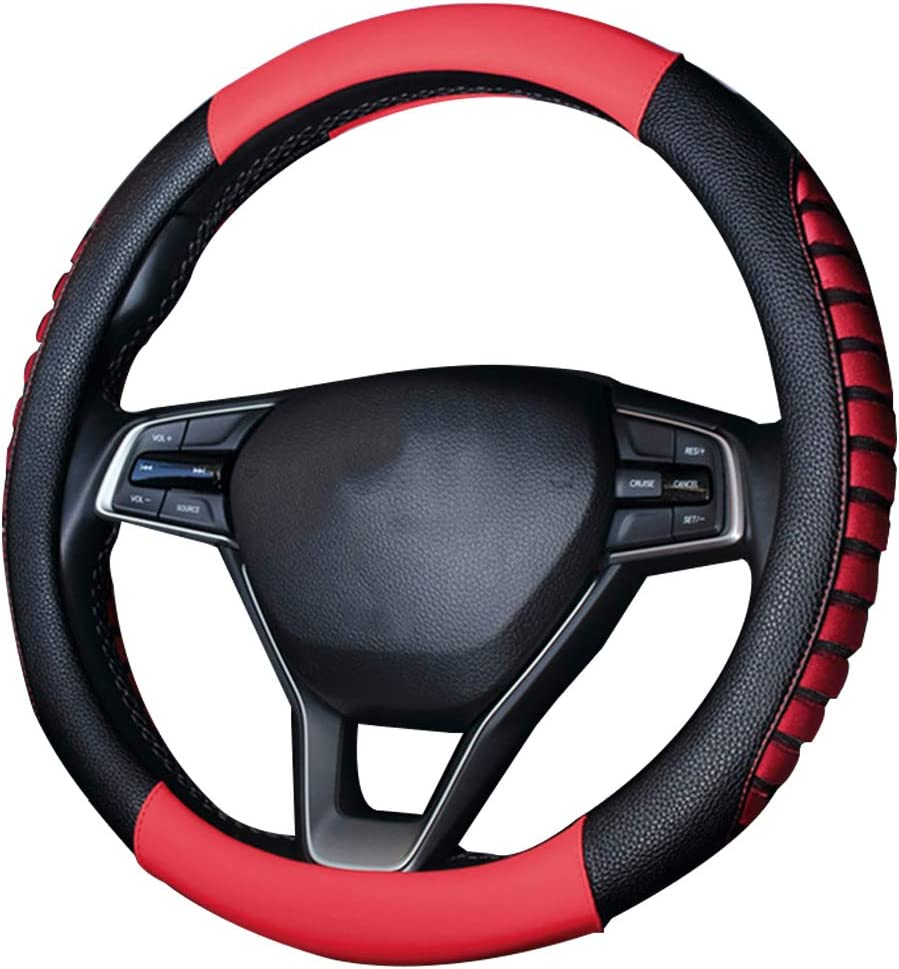 Black 15 Protector Car Accessory Pahajim Microfiber PU Leather Steering Wheel Cover Patchwork Hand Stitching Car Steering Wheel 38cm