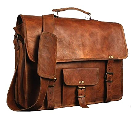 """17/"""" Mens Real Vintage Leather Messenger Business Laptop Briefcase Satchel Bag"""