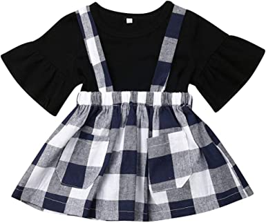 Toddler Plaid Skirt Infant Outfits Sets for 0-4Years 2Pcs Baby Girl Ruffle Tutu 1//2 Sleeve Top