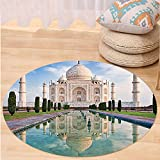 VROSELV Custom carpetAsian Decor Collection Taj Mahal in Sunrise Light Agra India History Love Story Emperor Landscape Marble Image Bedroom Living Room Dorm Ivory Teal Round 72 inches