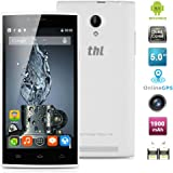 "THL T6C Newest 5.0"" Android 5.1 Unlocked 3G Smartphone -- Ultrathin 1GB/8GB MT6580 Quad-Core 1.3GHz GSM/WCDMA Dual SIM Card Dual Standby Mobile Phone GPS OTA WIFI SIM-Free Phablet (White)"