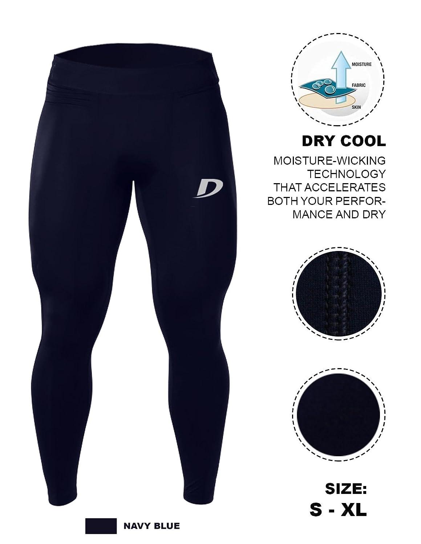 decisivo allenamento fitness da uomo a compressione corsa palestra leggings primo strato pantaloni sport allenamento, Uomo, Navy Blue Decisive Fitness