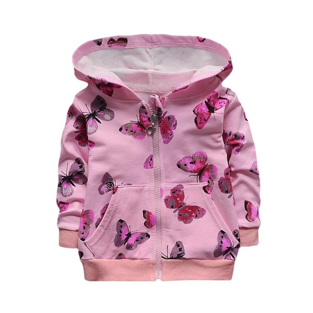 Newest Infant Toddler Baby Girls Butterfly Print Hoodie Tops Casual Clothes Coat Pink)