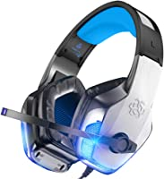 BENGOO V-4 遊戲耳機,适用于 Xbox One、PS4、PC、控制器、帶麥克風的降噪頭戴式耳機,LED 燈低音環繞軟記憶耳罩,适用于 Mac Nintendo Switch Games, 藍色 可調節