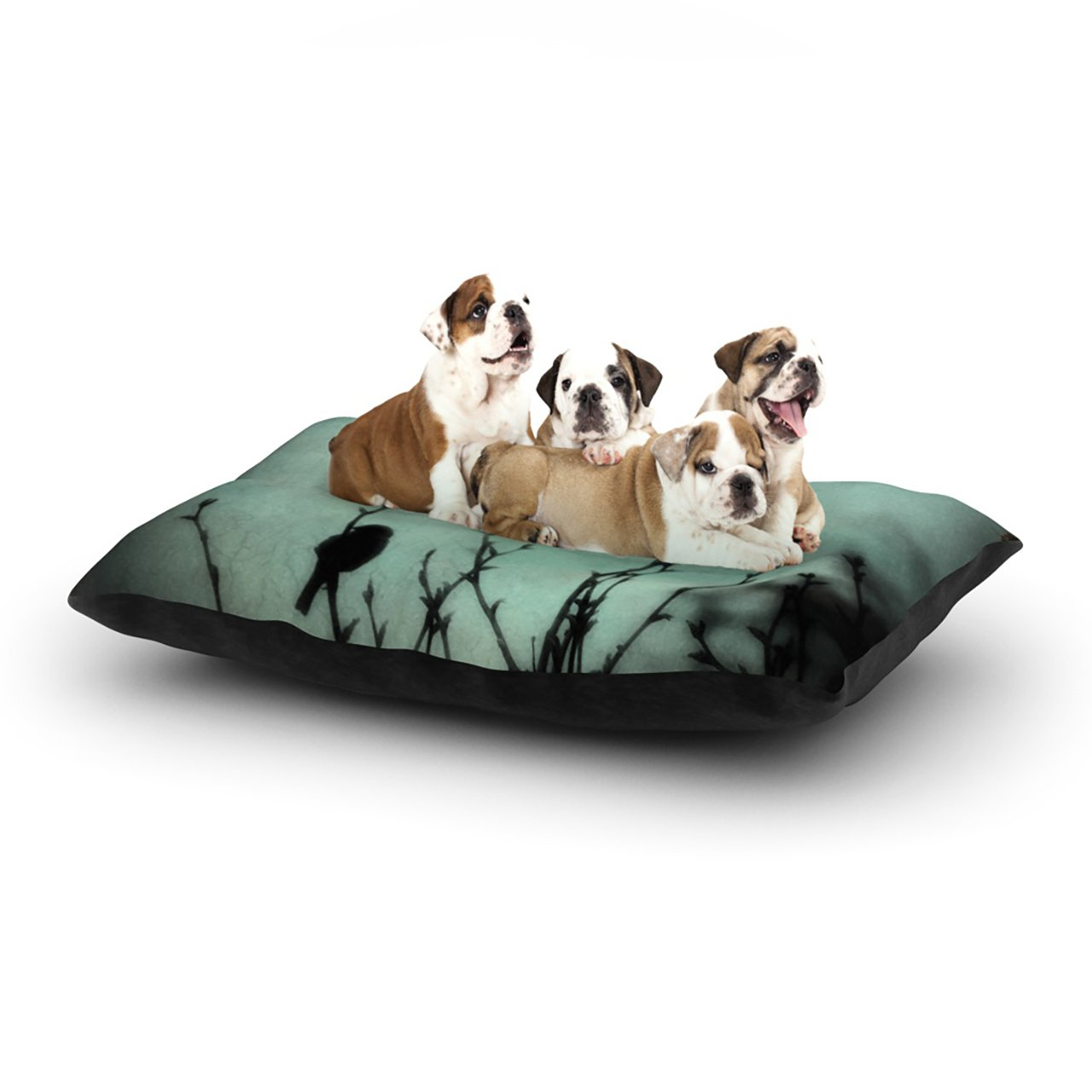 Large 30\ Kess InHouse Robin Dickinson On Top  Teal Dark Dog Bed, 30 by 40-Inch