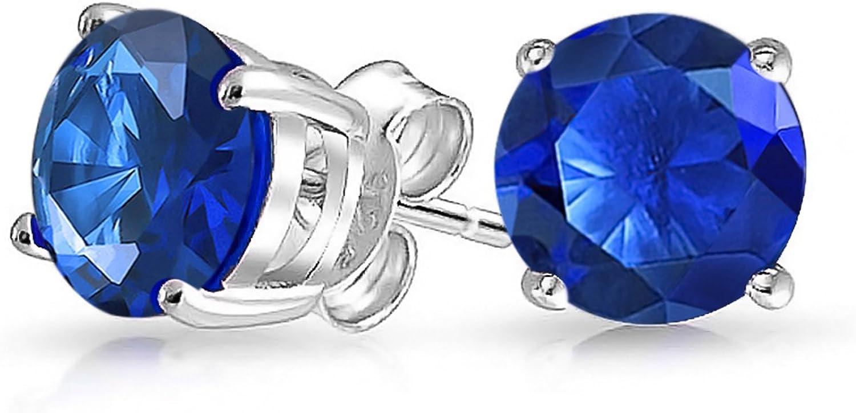 1Ct Zirconio Cúbico Redonda Azul Brillante Solitario AAA CZ Pendiente De Boton Plata Esterlina 925 Zafiro Simulada