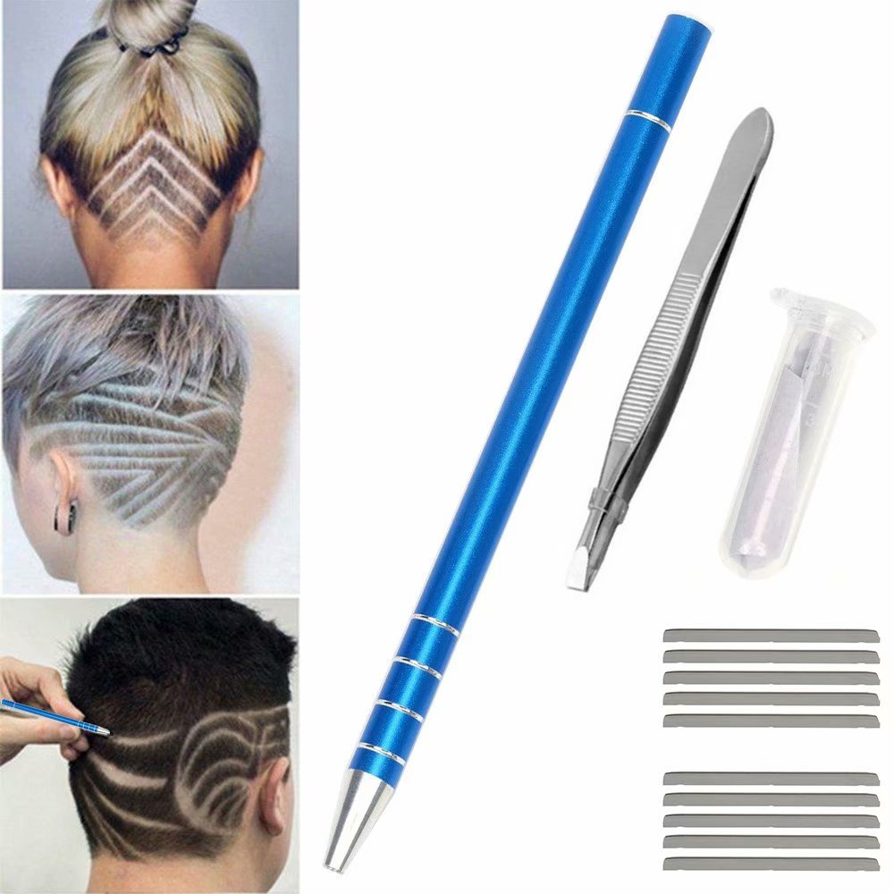 KingFurt Hair Tattoo Trim Styling Face Eyebrow Shaping Device, Hair Engraving Pen + 10 Blades + Tweezers Hair Styling Eyebrows Beards Razor Tool for Men Women