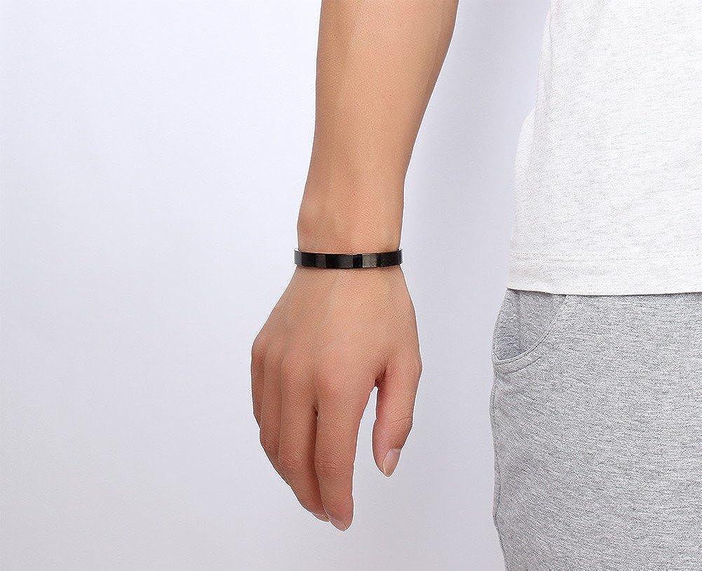 Free Engraving-8MM Stainless Steel Plain Open Cuff Bracelet for Men Women,Black,Diameter 64MM