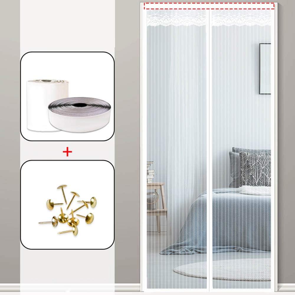 Cortina Mosquitera Doble Magnetica Puerta Exterior Sin Tornillos, Mosquitera Puerta Corredera Lateral con Iman para Terraza/Habitacion Fácil De Instalar,Blanco,170 * 240cm(67 * 94.5in): Amazon.es: Hogar