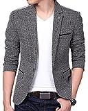 ARRIVE GUIDE Mens Casual Linen Tweed One Button Lapel Blazers Jacket Coat