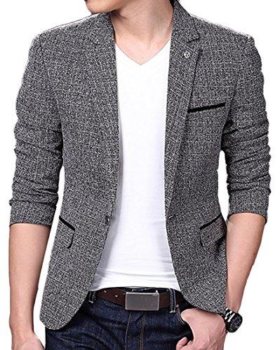 ARRIVE GUIDE Mens Casual Linen Tweed One Button Lapel Blazers Jacket Coat Gray M